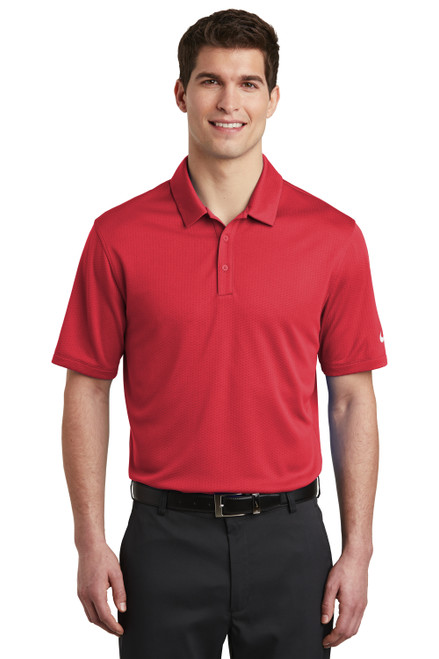 Gym Red Nike Dri-FIT Hex Textured Polo