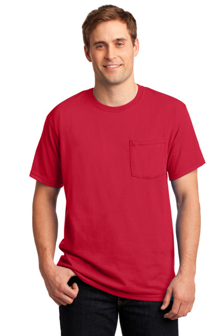 True Red JERZEES Dri-Powe Active 50/50 Cotton/Poly Pocket T-Shirt