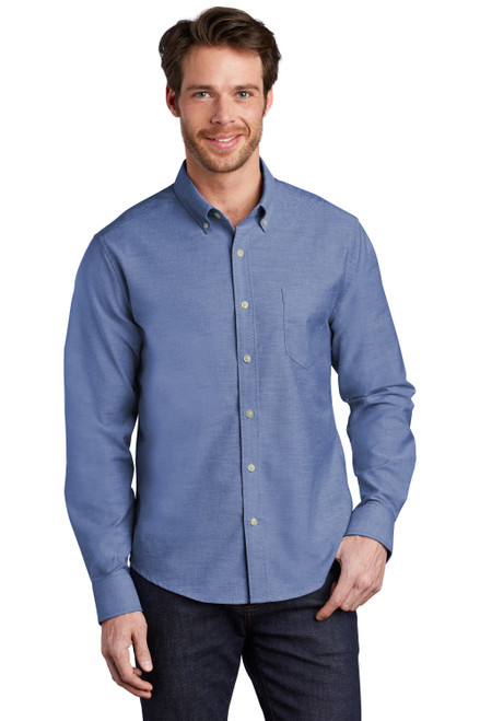 Navy Port Authority Untucked Fit SuperPro Oxford Shirt