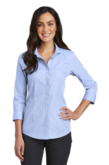 Blue Pearl Red House Ladies 3/4-Sleeve Nailhead Non-Iron Shirt