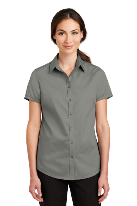 Monument Grey Port Authority Ladies Short Sleeve SuperPro Twill Shirt