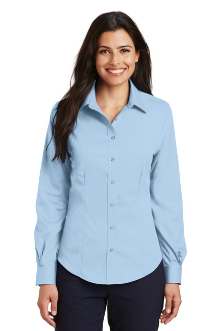 Sky Blue Port Authority Ladies Non-Iron Twill Shirt