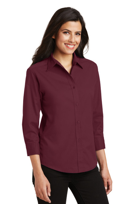 Burgundy Port Authority Ladies 3/4-Sleeve Easy Care Shirt