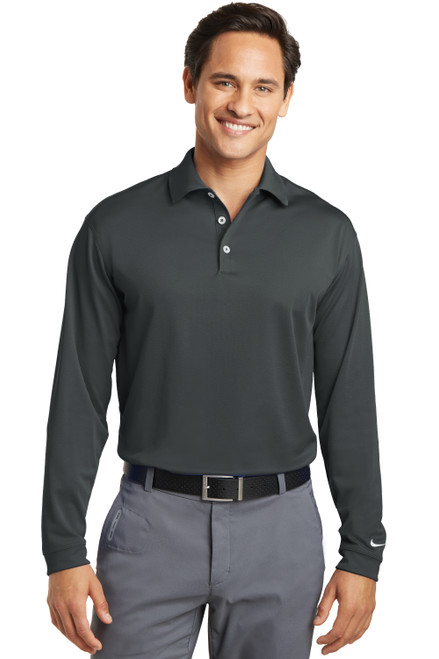 Anthracite Nike Long Sleeve Dri-FIT Stretch Tech Polo