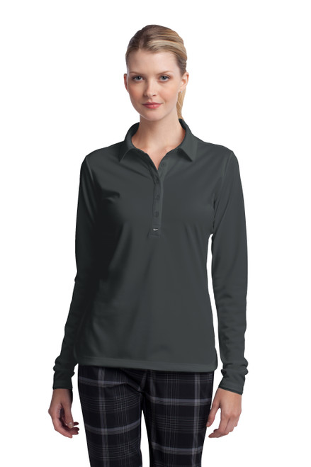 Anthracite Nike Ladies Long Sleeve Dri-FIT Stretch Tech Polo