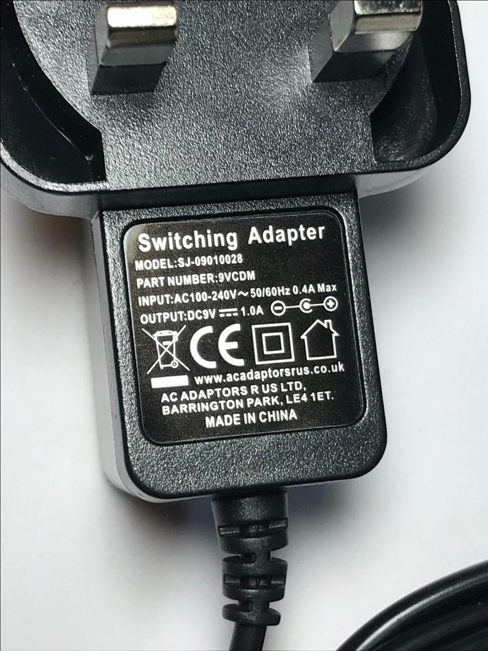Trimline E418 Elliptical Cross Trainer 9V Mains AC Adaptor Power Supply UK