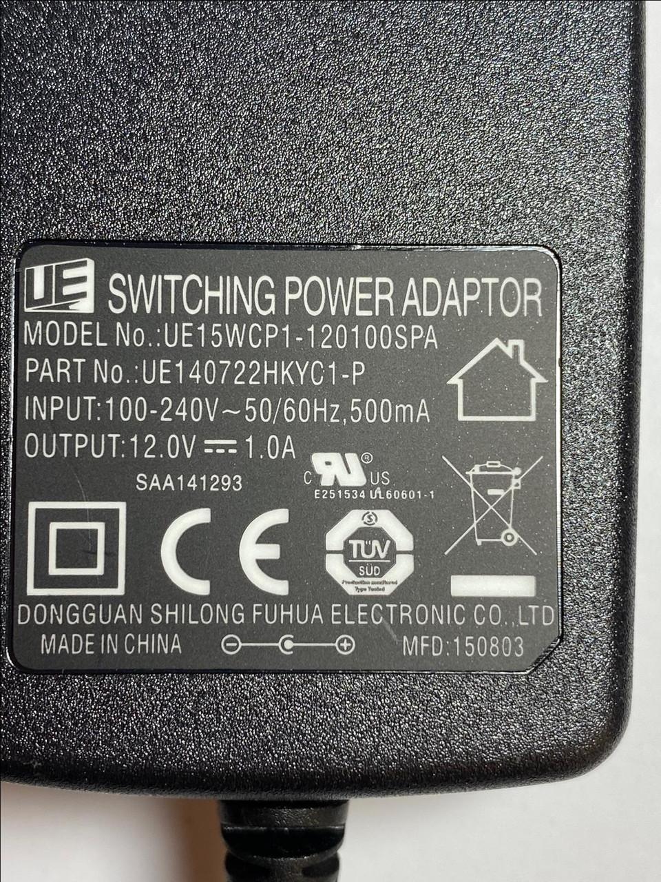 Replacement Power Supply for Model JT-DC12V1000 12VDC 1000mA EU