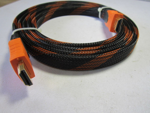 Black/Orange Flat HDMI Cable Lead 1.8M Long Top Quality GOLD Connection Braided