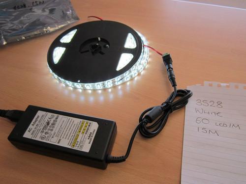 15M 3528 WHITE 60 LED/M Waterproof Adhesive LED Light Strip + PSU