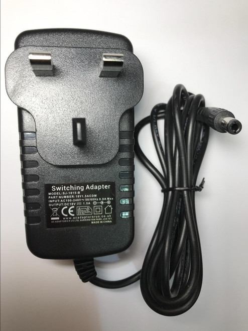 18V 1.5A 1500mA AC/DC Adaptor Charger Power Supply 5.5mm x 2.1mm Positive Centre