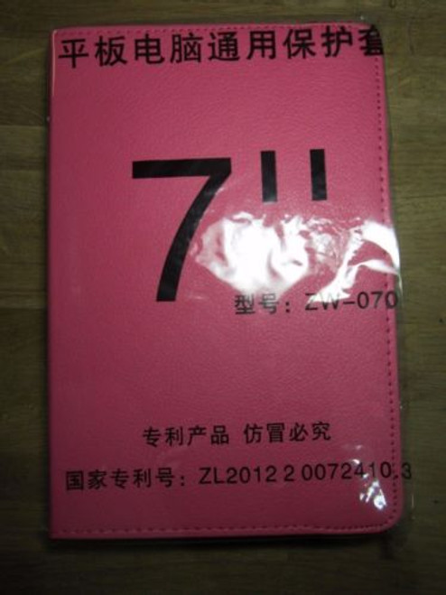 """7"""" D Pink PU Leather Multi Angle Stand Carry Case for Android Touchscreen Tablet"""