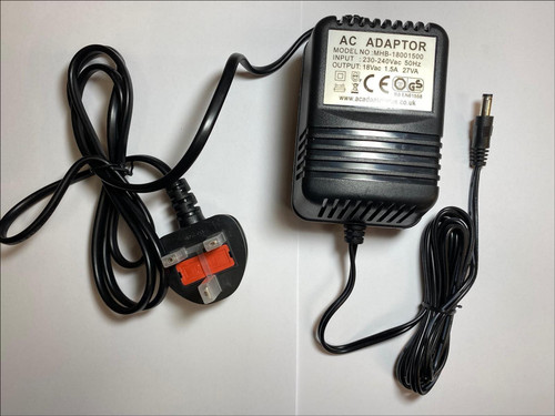 UK 18V 500mA AC Adaptor Power Supply for Alto Pro ZMX52 5 Channel Compact Mixer