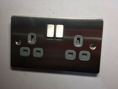 Black Nikel Flat Plate Double Plug Socket 2 Gang 13 Amp