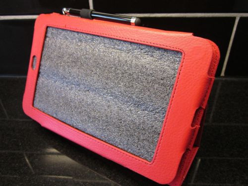 Red PU Leather Case/Stand for Google Nexus 7 Android Tablet PC + FREE Stylus