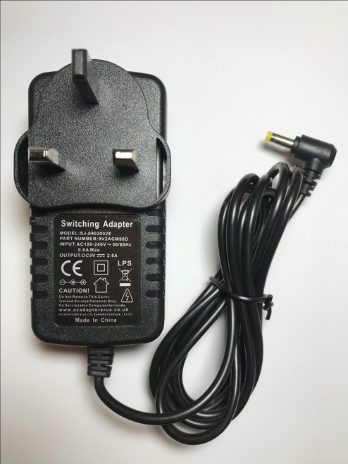 9V Mains AC-DC Adaptor Power Supply Charger for Logik L9SPDVD11 Portable DVD
