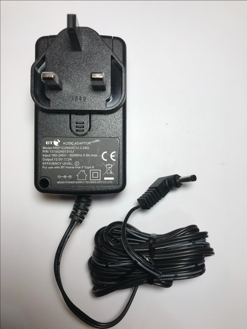 Replacement 12V 2A AC-DC Adaptor Power Supply for Now TV Hub Two NR801 UK Plug