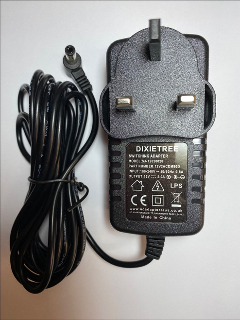 12V Mains AC-DC Adaptor Power Supply Charger for Logik L12PDVD14 Portable DVD