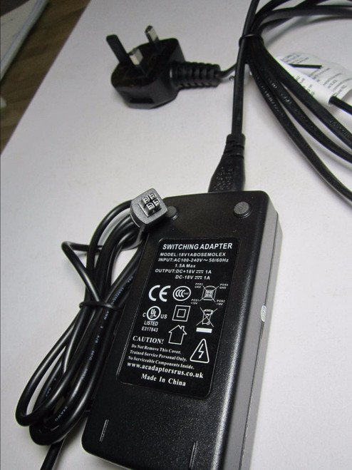 DIXIETREE 18V 1A AC-DC Switching Adapter Power Supply model 18V1ABOSEMOLEX