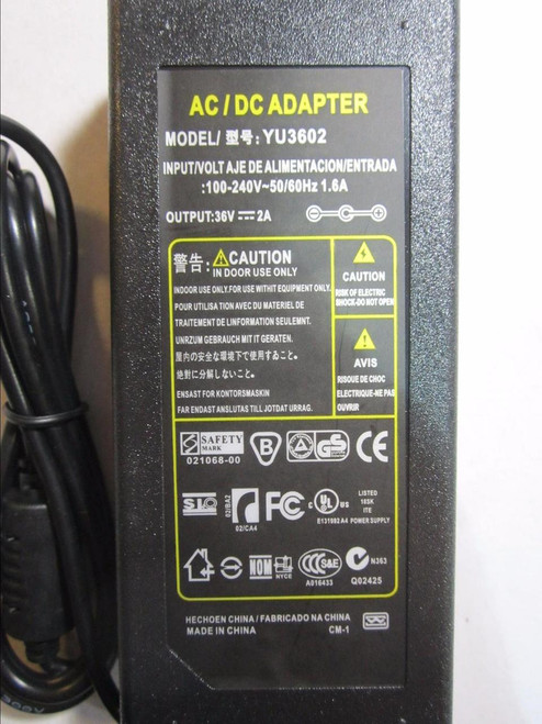 36V 2A 2000mA AC-DC Switching Adapter Desktop Power Supply with 4mm x 1.7mm Tip