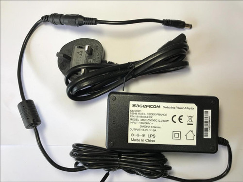 UK Replacement for Flypower Switching Adaptor model PS65IBCAY5000S 12.0V 5000mA