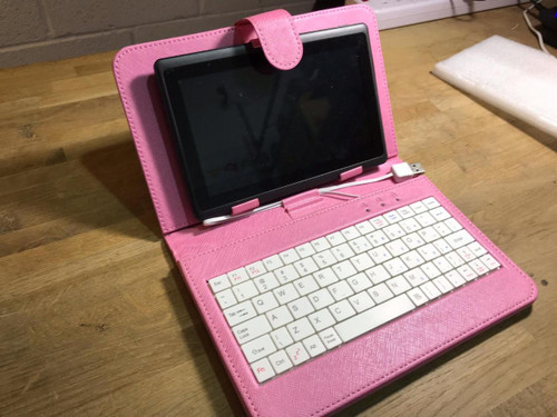 "Pink USB Keyboard PU Leather Case/Stand for 7"" Elonex Etouch E Touch Tablet PC"