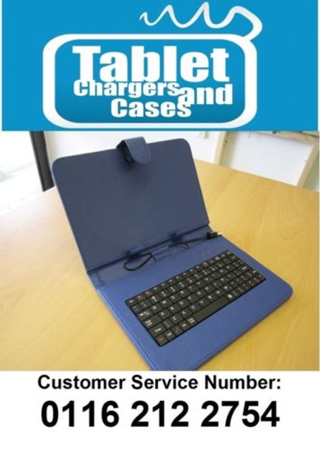"Blue 9"" USB Keyboard Case/Stand for ATAB 9 Android Tablet PC"