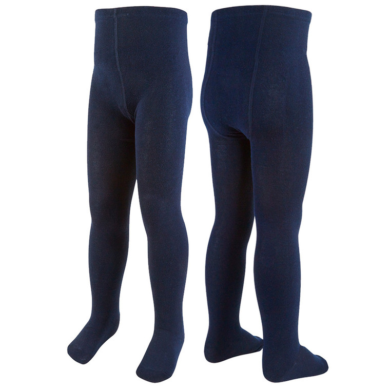 Girls Plain Back To School Tights Navy - 3 Pairs