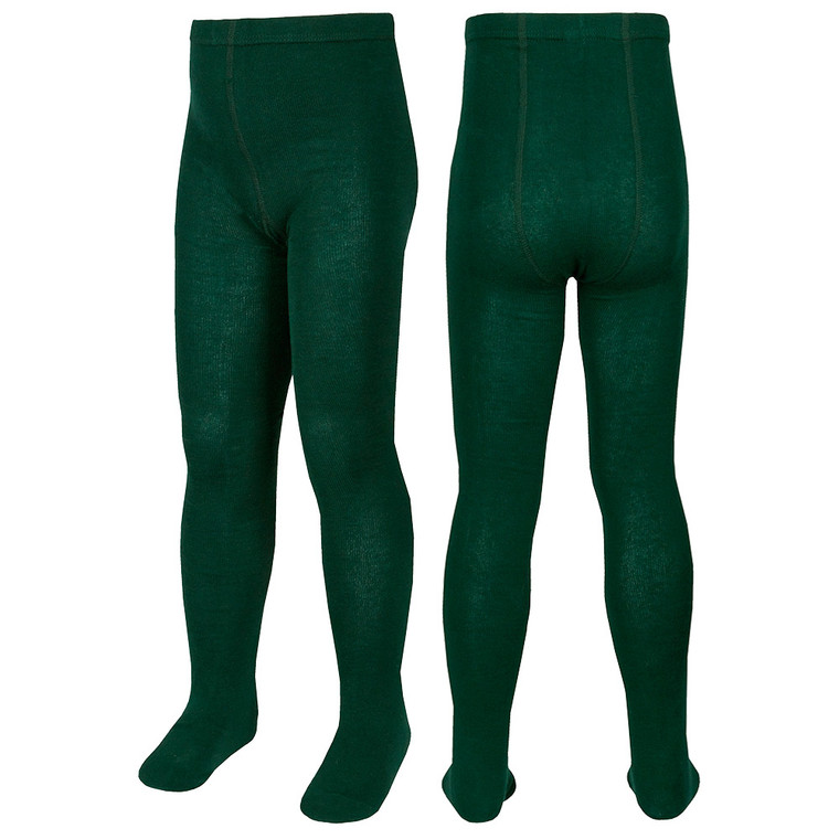 Girls Plain Back To School Tights Green - 3 Pairs