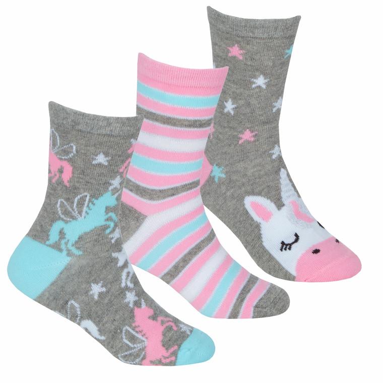 Girls Novelty Colourful Cute Unicorn Socks 3 Pairs Grey Unicorn
