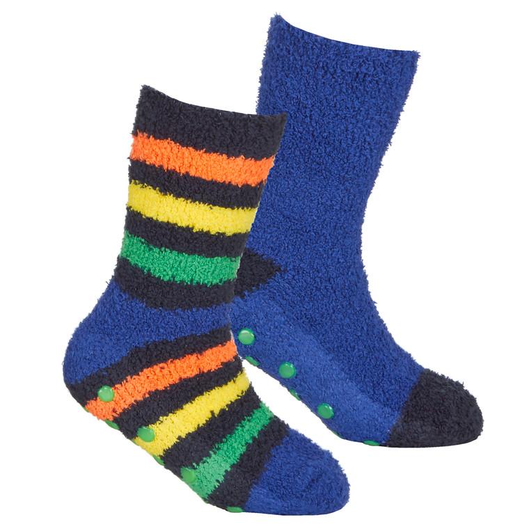 Boys 2 Pairs Fluffy Cosy Chunky Non Slip Anti Grippers Socks Stripe