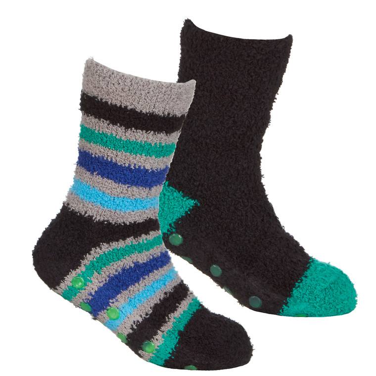 Boys 2 Pairs Fluffy Cosy Chunky Non Slip Anti Grippers Socks Blue Stripe