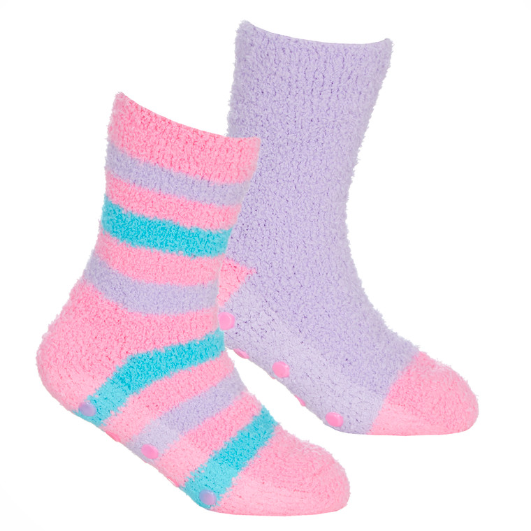 Girls 2 Pairs Fluffy Cosy Chunky Non Slip Anti Grippers Socks Pink