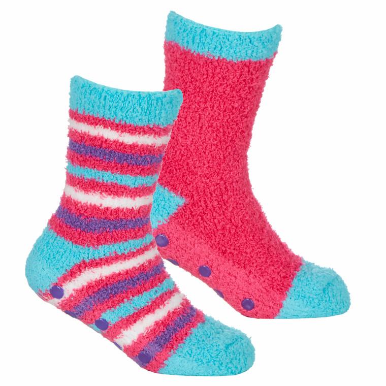 Girls 2 Pairs Fluffy Cosy Chunky Non Slip Anti Grippers Socks Dark Pink