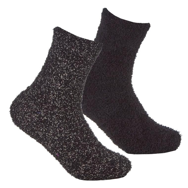 Girls 2 Pairs Fluffy Cosy Chunky Glitter Socks