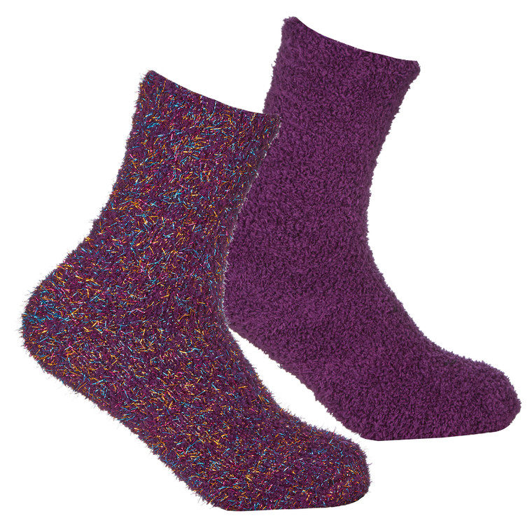 Girls 2 Pairs Fluffy Cosy Chunky Glitter Socks Purple