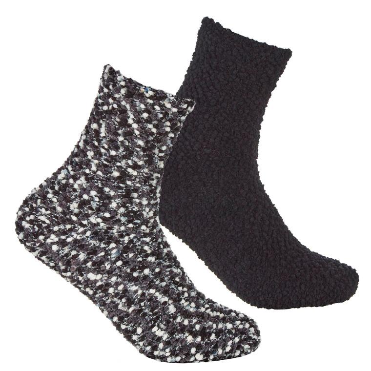 Girls 2 Pairs Fluffy Cosy Chunky Popcorn Socks Black