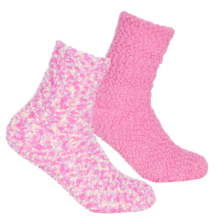 Girls 2 Pairs Fluffy Cosy Chunky Popcorn Socks Pink