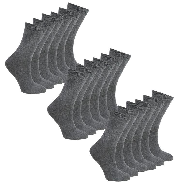 Boys Plain Back To School Socks Grey - 9 Pairs