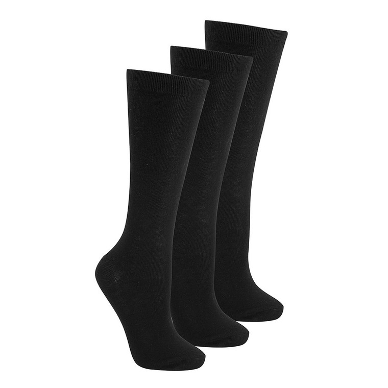 Girls Knee High Back To School Uniform Socks 3 Pairs Black