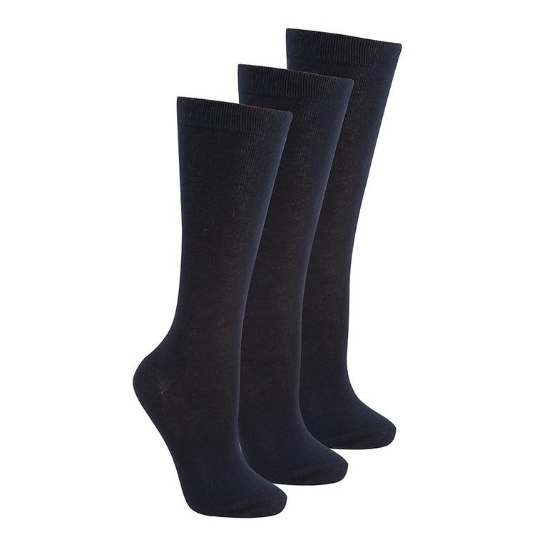 Girls Knee High Back To School Uniform Socks 3 Pairs Navy