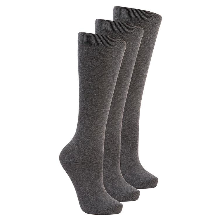 Girls Knee High Back To School Uniform Socks 3 Pairs Grey
