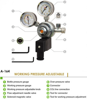 UP-Aqua CO2 Ajustable Regulator + Solenoid