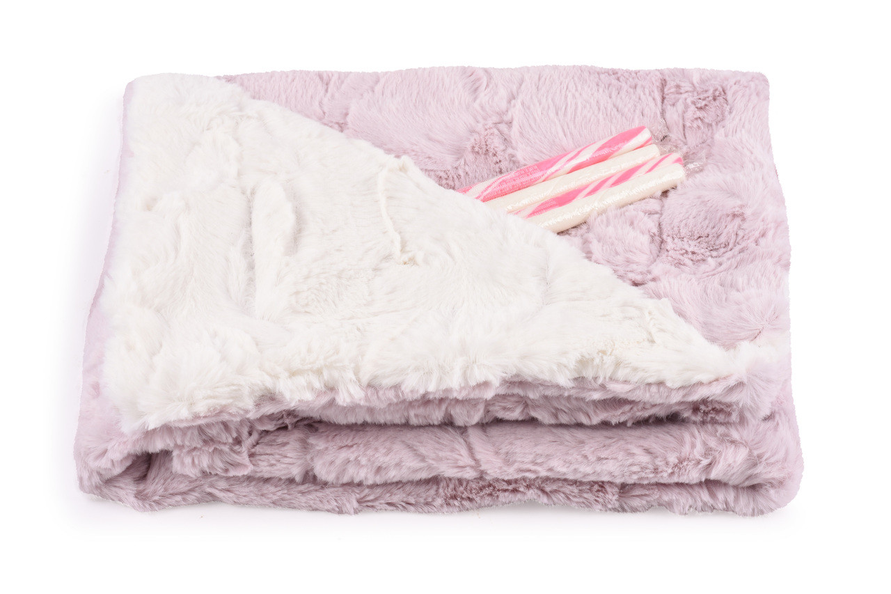 Baby Blanket Luxe Pink Cream With Candy Sticks Confection Collection