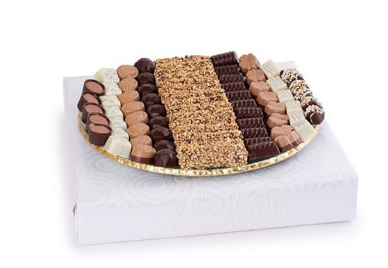 Assorted Truffles On Elegant Gold Edge Round Server -13""