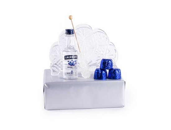 Crystal Napkin Holder With Blue Chocolates