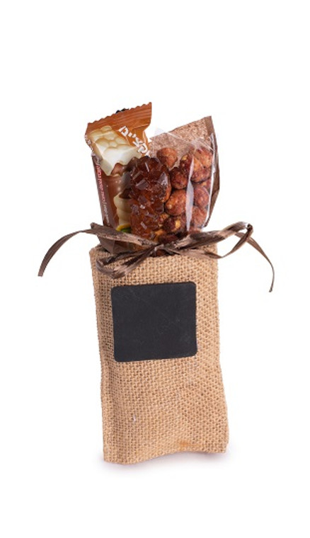 Burlap Bag With Chocolates Nuts And Candy