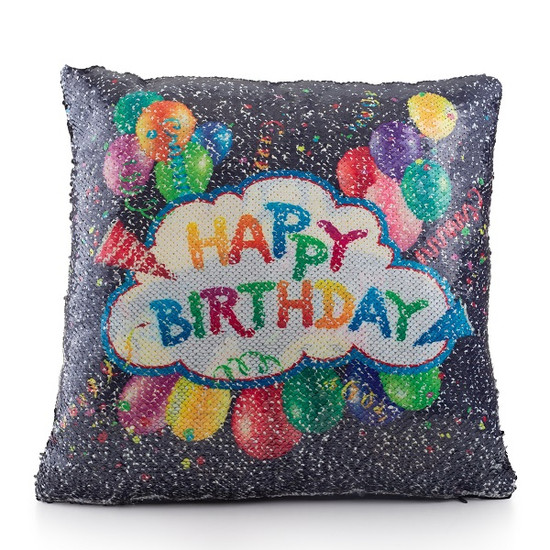 Happy Birthday Sequin Pillow