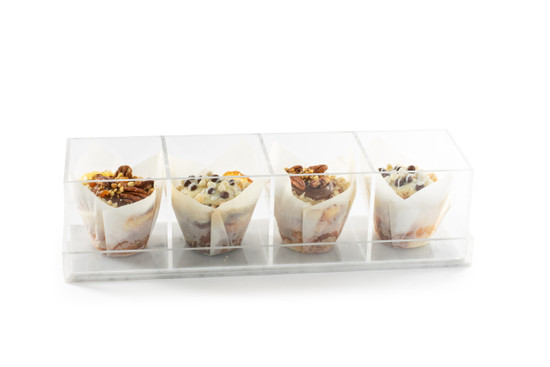 Assorted Cheese Buns In Acrylic Sectional Server