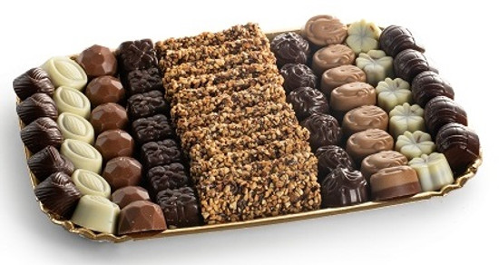 Assorted Chocolates On Gold Tray- Large
