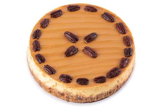 Caramel Cheese Cake With Pecans-10""